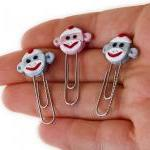 Sock Monkey Face PaperClip..