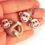 Brown Sock Monkey Pendant S..